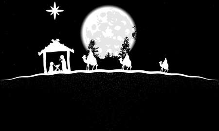 Landscape with three wise men and jesus in black and white, vector art illustration.