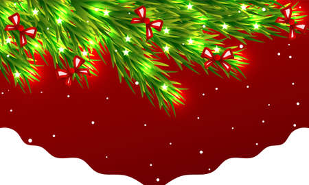 Red card with decorated spruce and snow, vector art illustration.