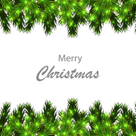 Christmas tree branches border with congratulations, vector art illustration.
