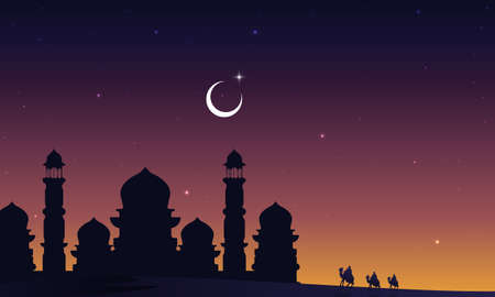 Silhouette of a mosque with arab travelers on camels in the desert, vector art illustration.