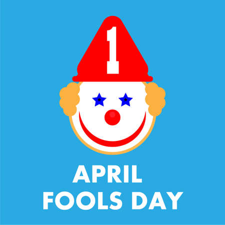 1st April Fools Day with funny clown design, vector art illustration.