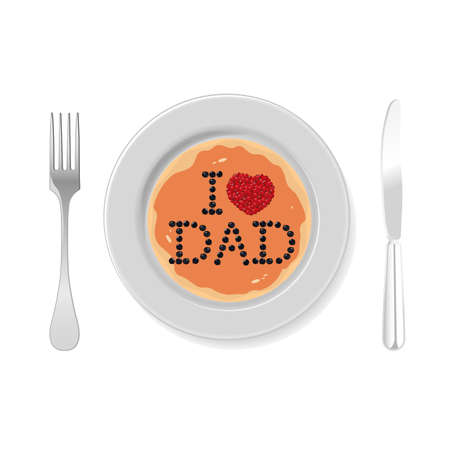 pancake with the inscription i love dad for fathers day