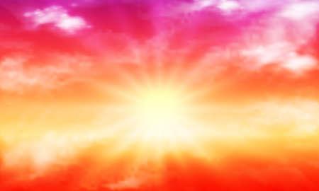 Orange purple sky with sun and clouds, vector art illustration.