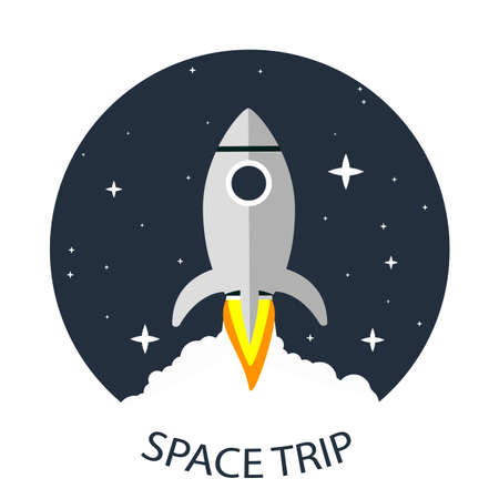 Space travel rocket in the starry sky, vector art illustration.