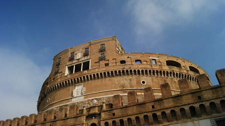 view of castel Santangelo photographed from below with blue sky Editorial