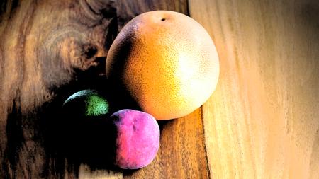 Obst, Gemuese, Kunst Holz gelb gesund ernaehrung