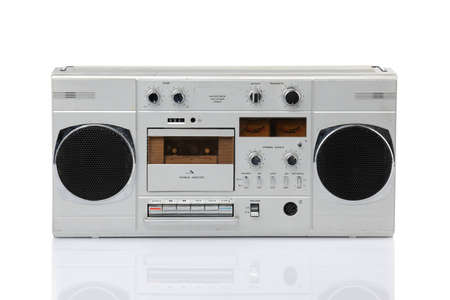 Vintage Stereo Cassette Recorder isolated over white background Stock Photo - 12867208