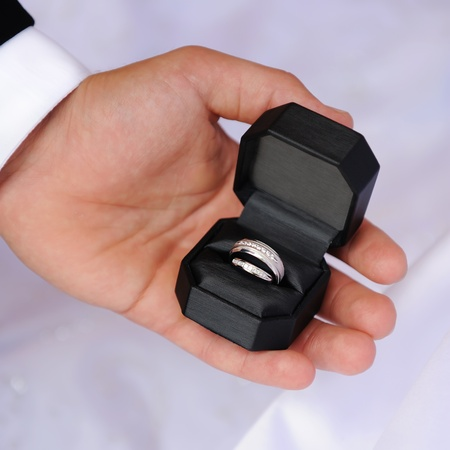 bearer: two wedding rings in the hand of a ring bearer