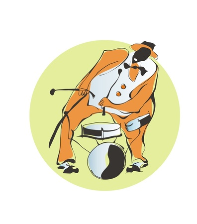 new orleans: Afro-American jazz-man beats the drums Illustration