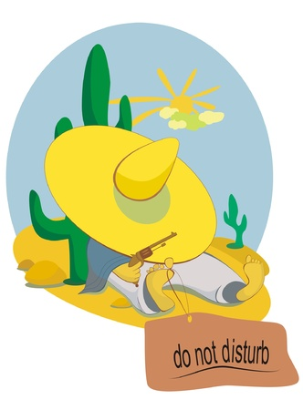 A lying on the sand cowboy pulls his hat over his eyes and asks do not disturb him Stock Vector - 13045971