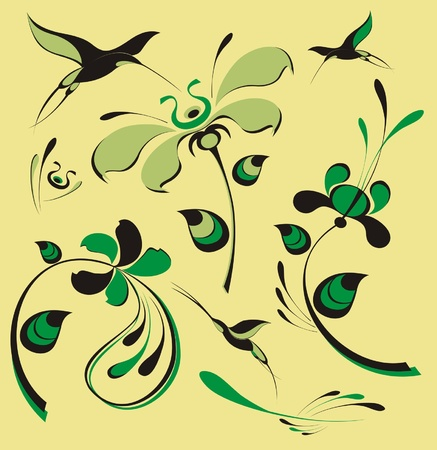 Original birds and flowers collection for design Vector