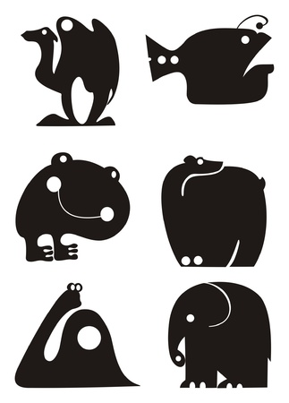 Vector animal silhouettes collection for design Vector