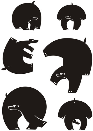 bear silhouettes collection for your design Illustration