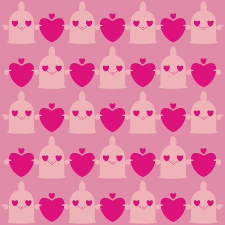 Cartoon erotic background with condoms and hearts