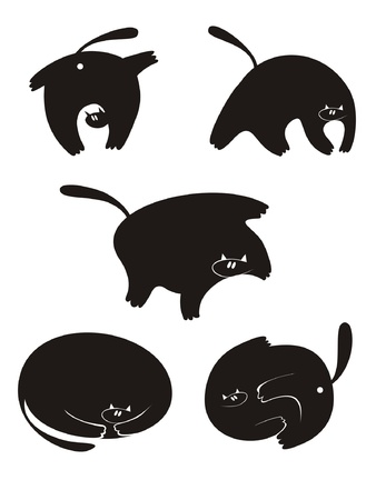Fat cat silhouette vector collection