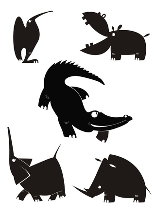 Animal silhouettes collection for design Illustration