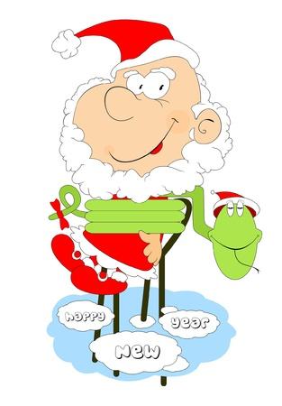 Santa Claus and a snake