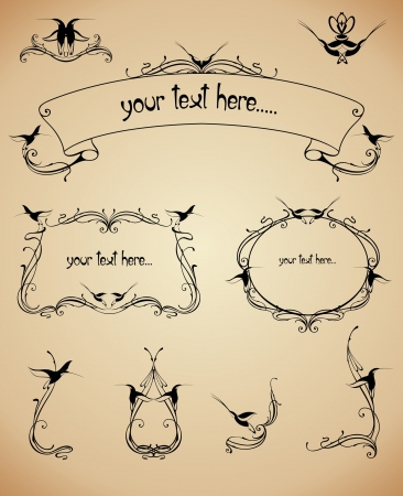 frames and calligraphic elements set Vector