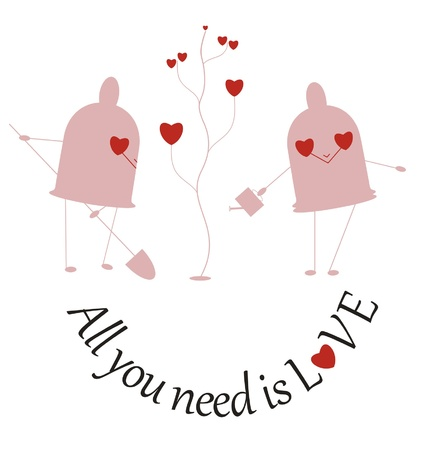 Two funny little condoms plant a tree and sing: All you need is love Illustration
