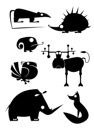 Vector original art animal silhouettes collection for design Stock Vector - 19805039