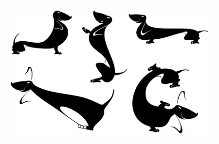 Vector art silhouettes of the dachshund