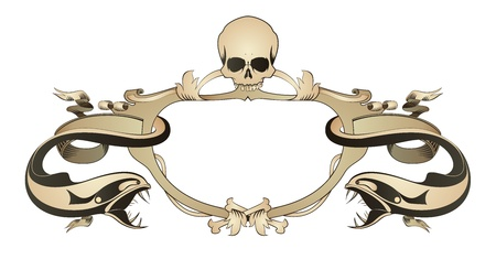 Decorative frame with skull, bones, predator fish and floral element Vector