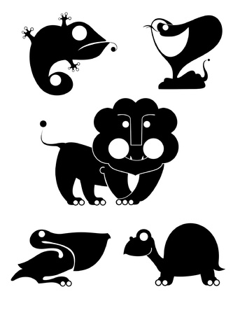 Vector original art animal silhouettes collection for design Illustration