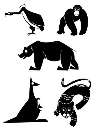 Vector original art animal silhouettes collection for design Vector