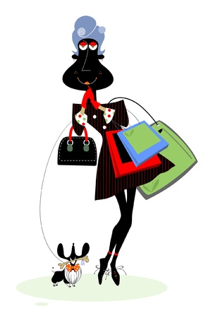 A women with bags and dog goes shopping Vector