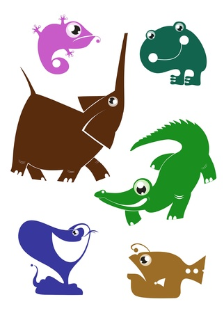 Cartoon funny animals set for design Vector