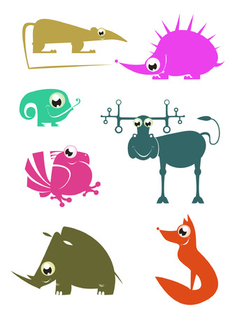Cartoon funny animals set for design 2 Vector