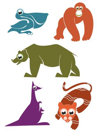 primate biology: Cartoon funny animals set for design 3