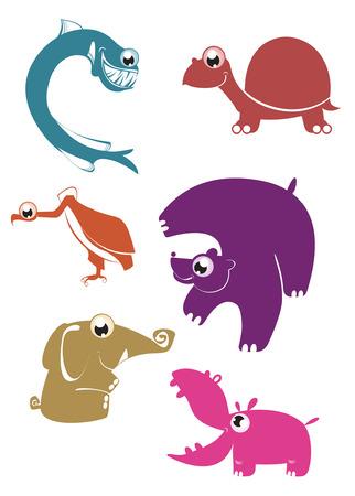 funny animal: Animales divertidos dibujos animados para dise�o 4 Vectores