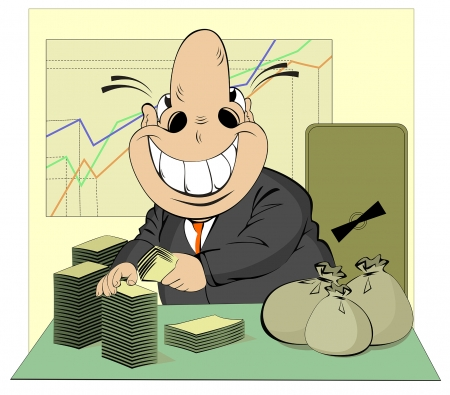 Lucky businessman counts money Stock Vector - 23036180