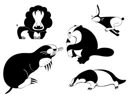 Vector original art animal silhouettes of lion, badger, beaver,  hare, rabbit, mole Illustration