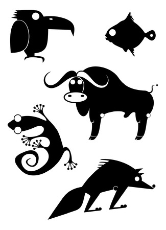 Vector original art animal silhouettes collection for design