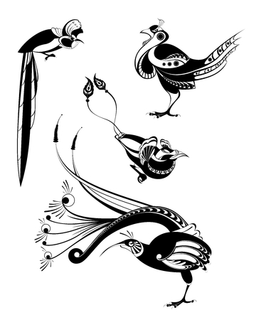 Vector original art bird silhouettes collection for design  Illustration