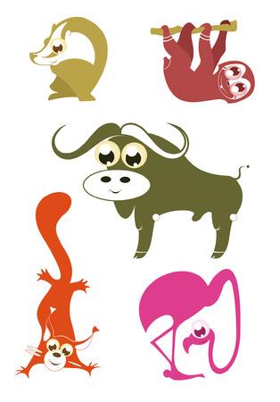 funny animal: Animales divertidos dibujos animados conjunto para el dise�o 5 Vectores