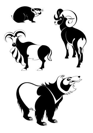 Vector original art animal silhouettes collection for design 5 Vector
