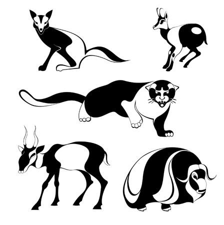 damhirsch: Vector urspr�nglichen Kunst Tier-Silhouetten Sammlung f�r Design 6