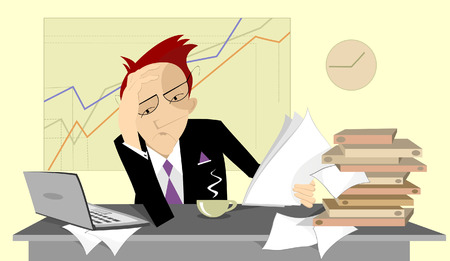 tiredness: Busy and stress businessman