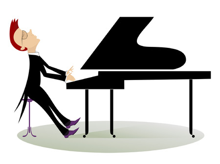 Pianist playing music with inspiration Vector