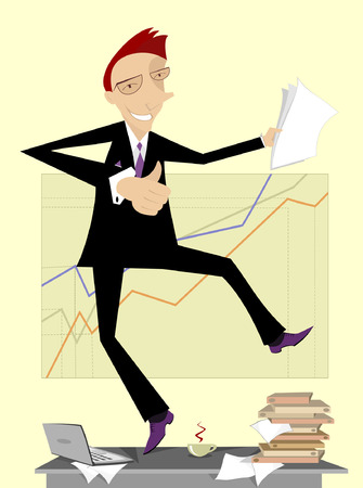 Lucky businessman dancing on the table Illustration