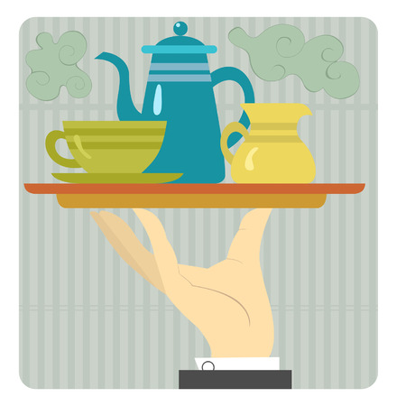 Tray with coffeepot, cup and cream are on the waiter hand