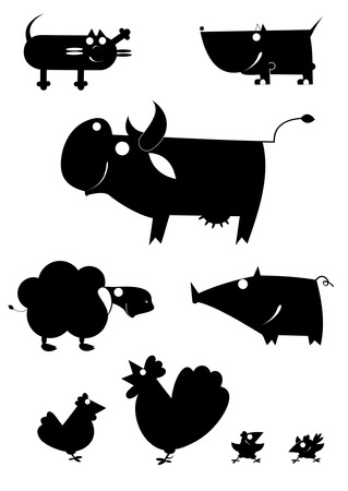Vector art farm animal silhouettes collection for design Illustration