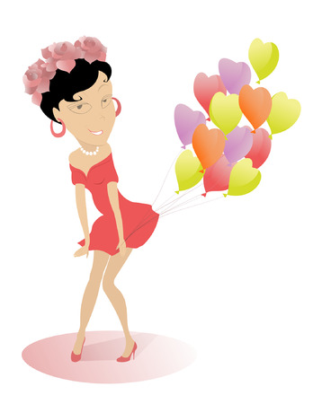 Attractive young girl holding colorful balloons  Illustration