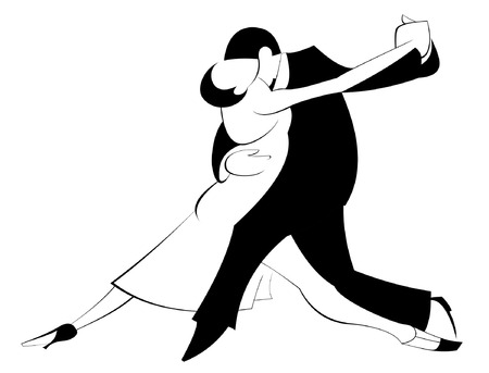 Dancing man and woman silhouette