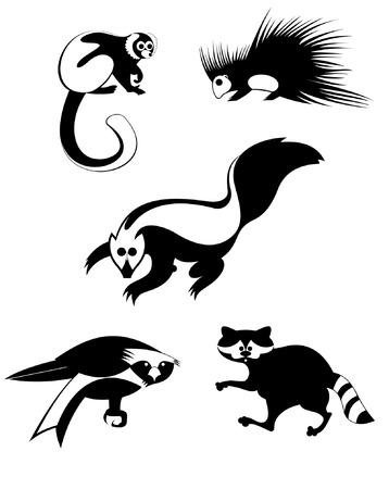 original art animal silhouettes collection  Vector
