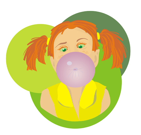 Little girl blowing bubble from gum Vettoriali