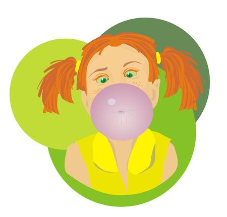 bubble gum: Little girl blowing bubble from gum Illustration